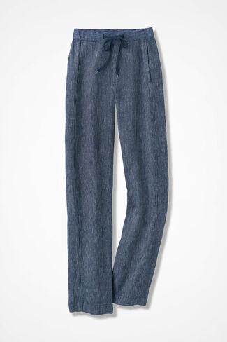 Modern Stripes Linen Ankle Pants, Navy, large