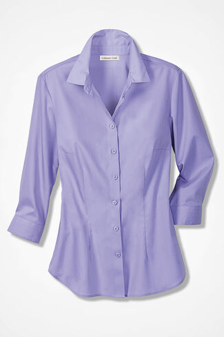 Classic Cotton Three-Quarter Sleeve Shirt, Porter Lilac, large