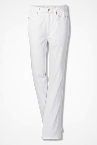 Knit Denim Straight-Leg Jeans, White, large