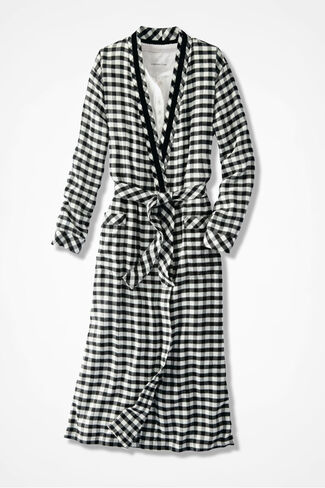 Buffalo Check Flannel Robe, Ivory/Black, large