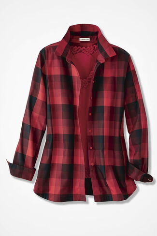 Festive Red Plaid Easy Care Shirt, Fresh Red, large