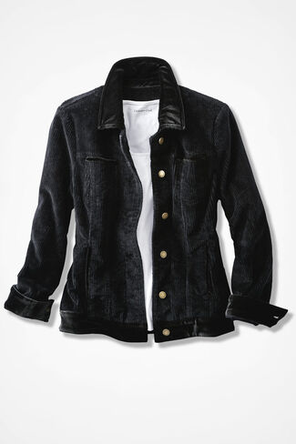 Velvet Trim Corduroy Jacket, Black, large