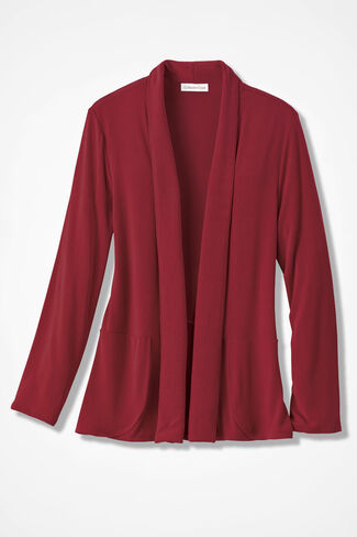 Destinations Shaped Cardigan Jacket, Red, large