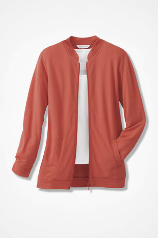 French Terry Weekend Jacket, Rich Coral, large