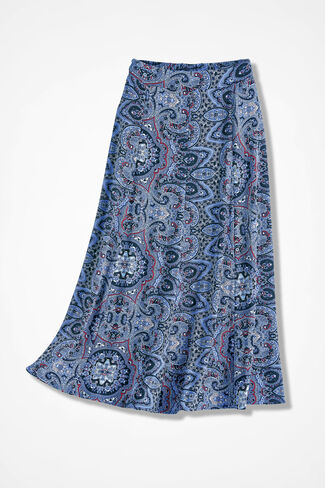 Destinations by Coldwater Creek® Medallion Print Gored Skirt, Blue Multi, large