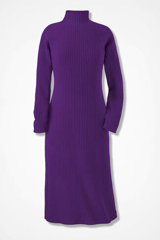 Modern Mode Sweater Dress, Plum, large