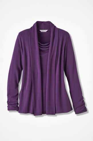 Soft Drape Cardigan, Boysenberry, large