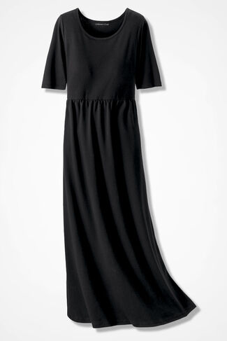 Essential Supima® Long Story Knit Dress, Black, large