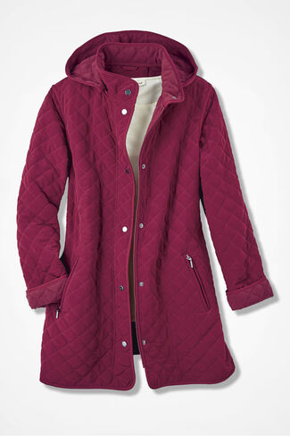 Hooded Quilted Car Coat, Garnet, large