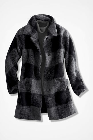 Blanket Plaid Coat, Black/Grey, large