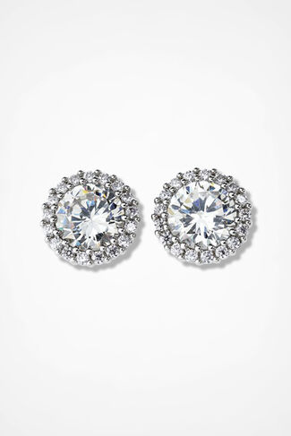 Dramatic Dazzle Pavé Earrings, Clear, large