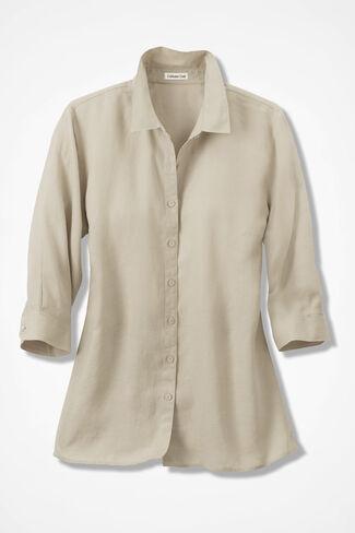 Sunwashed Linen Big Shirt, Flax, large
