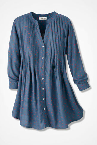 Charming Foxes Tunic, Mineral Blue, large