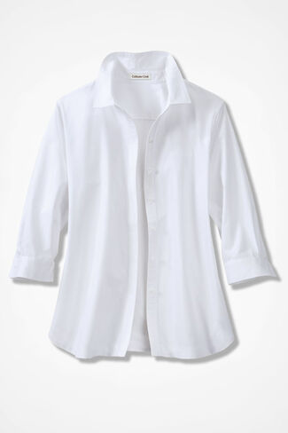 Three-Quarter Sleeve Easy Care Shirt, White, large