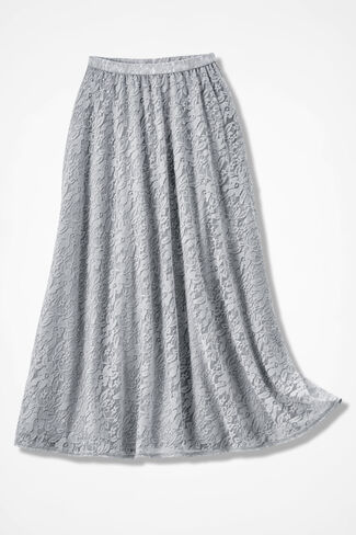 Stretchy Lace Skirt, Shell Grey, large