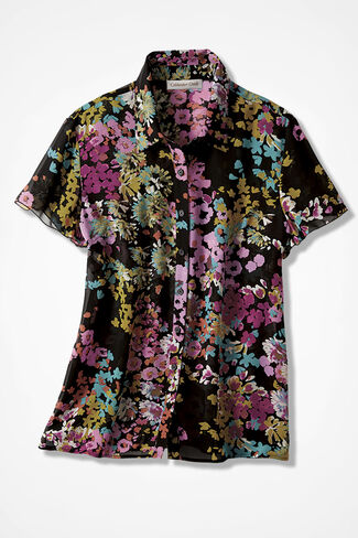 Sheer Blossoms Camp Shirt, Black, large