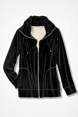 Velour du Jour Jacket, Black, large
