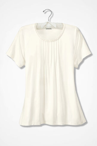 Pintucked Knit PJ Top, Ivory, large