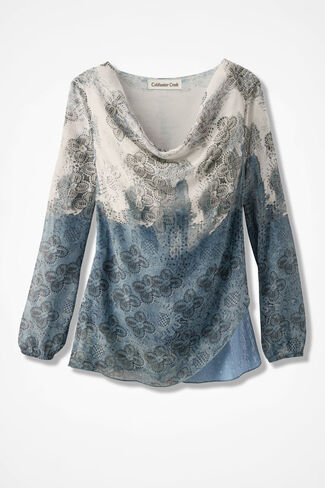 Sequined Impressions Top, Mineral Blue, large
