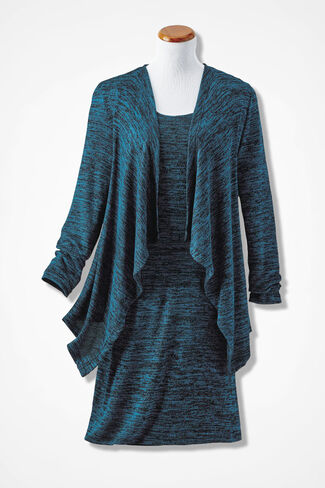 Space-Dyed Jacket Dress, Teal Multi, large