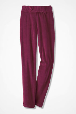 Velour du Jour Straight-Leg Pants, Garnet, large