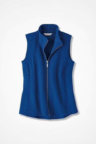 Curved-Hem Cabled Vest, Sapphire, large