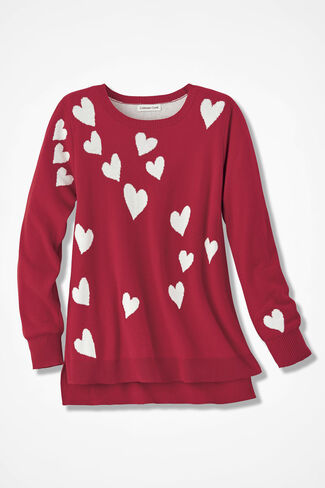 Scattered Hearts Sweater, Fresh Red, large