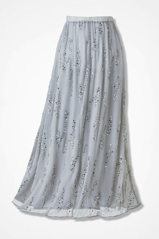 Swirling Sequins Maxi Skirt, Shell Grey, large
