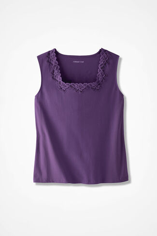 Lacy Square Neck Tank, Boysenberry, large