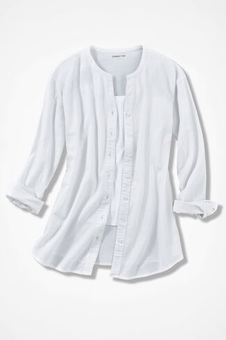 Crinkle Cotton Big Shirt, White, large