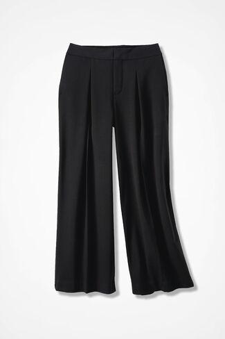 Bi-Stretch Wide-Leg Crops, Black, large