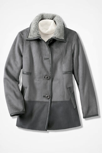 Two-Tone Faux Shearling Jacket, Slate Charcoal, large