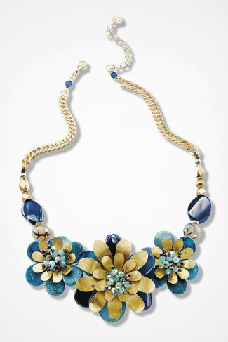 Artisan Flower Necklace, Blue Multi, large