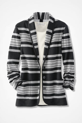 Perfect Line-up Knit Blazer, Black, large