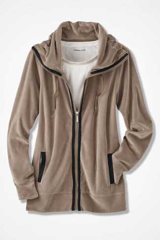 Velour du Jour Sueded-Trim Jacket, Toast, large