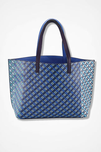 Tonal Tiles Reversible Tote, Blue Multi, large