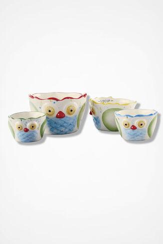 Hoot Suite Ceramic Measuring Cups, Multi, large