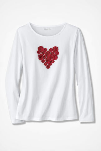 Heart of Flowers Appliqué Tee, White, large