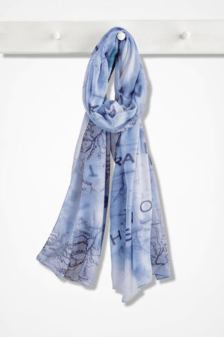 World Traveler Scarf, Blue Mist, large