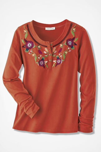 Folklore Embroidered Henley, Bittersweet, large
