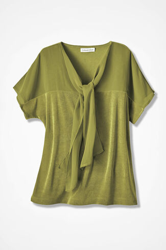 Destinations Tie-Neck Top, Avocado, large