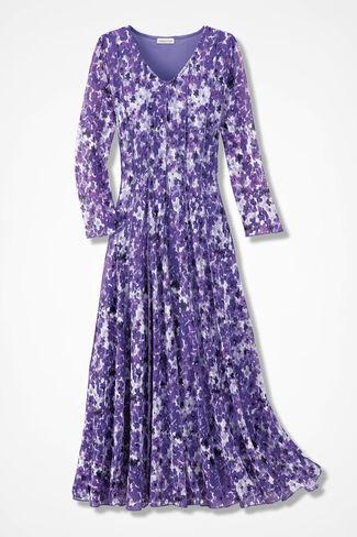 Dappled Floral Mesh Knit Dress, Floral, large