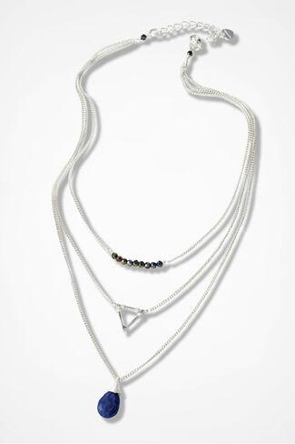 Lapis Beauty Triplex Necklace, Navy, large