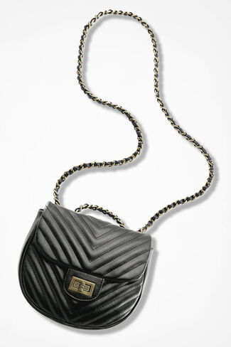 Chevron Quilted Bag, Black, large