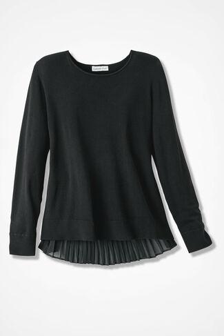 Chiffon Interlude Sweater, Black, large