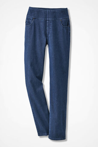 Knit Denim Pull-On Slim-Leg Jeans, Medium Wash, large