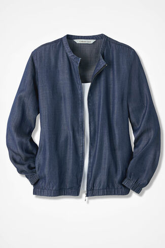 On-the-Go Tencel Bomber Jacket, Medium Blue Wash, large