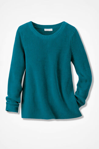 Boxy Shaker Pullover, Teal, large