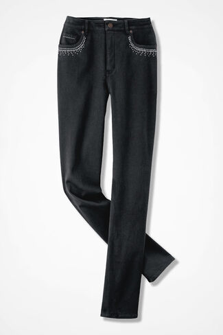Embellished Classic ShapeMe® Jeans, Black, large