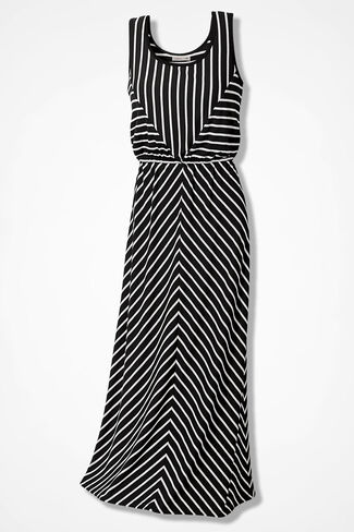 Stacked Stripes Maxi Dress - Black and White, Black, large